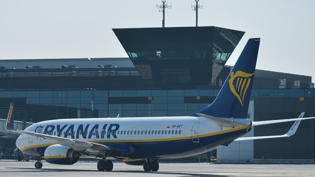The Ryanair flight was travelling from Dublin to Krakow (File pic)